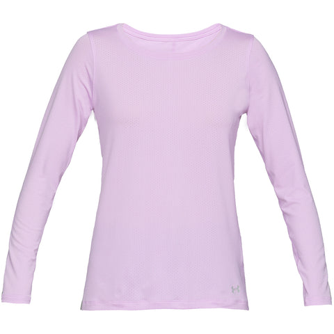 UNDER ARMOUR WOMEN'S HEAT GEAR ARMOUR LONG SLEEVE TOP ASH TAUPE
