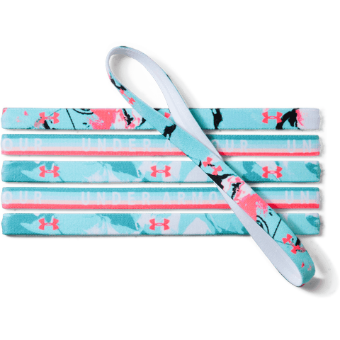 UNDER ARMOUR G 6PK GRAPHIC HEADBANDS TEAL/TURQ/PINK