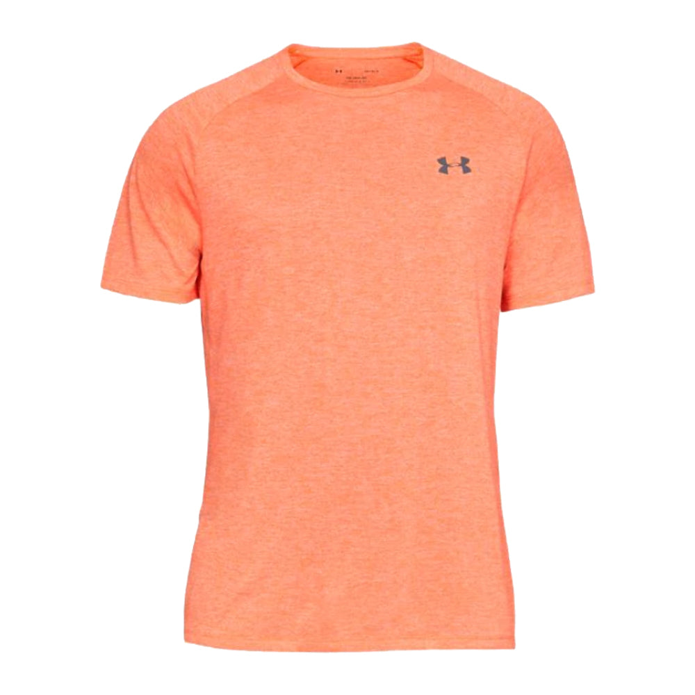 c01a9739 UNDER ARMOUR MEN'S TECH 2.0 SHORT SLEEVE TOP ORANGE GLITCH/PITCH GREY