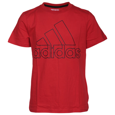 ADIDAS BOY'S PERFORMANCE LOGO TEE ACTIVE RED