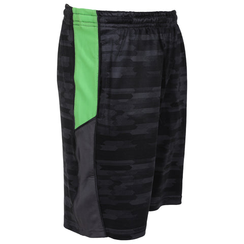 DIADORA BOY'S DILIGENT II SHORT BLACK PRINT/HI-VIS GREEN/IRON