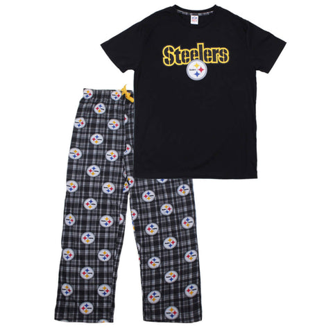 GERTEX MEN'S PITTSBURGH STEELERS 2 PIECE PJ SET BLACK