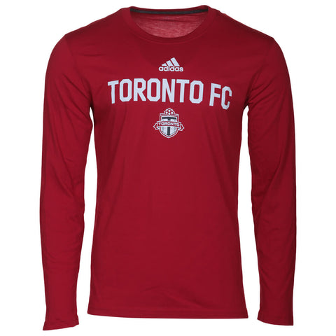 ADIDAS MEN'S TORONTO FC GO TO PERFORMANCE LONG SLEEVE TOP RED