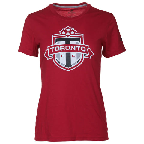 ADIDAS WOMEN'S TORONTO FC GO TO LOGO SHORT SLEEVE TOP RED