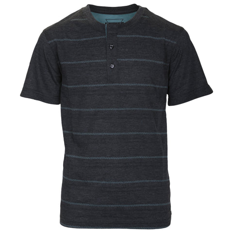 BURNSIDE BOY'S SHORT SLEEVE HENLEY TEE CHARCOAL MIX STRIPE