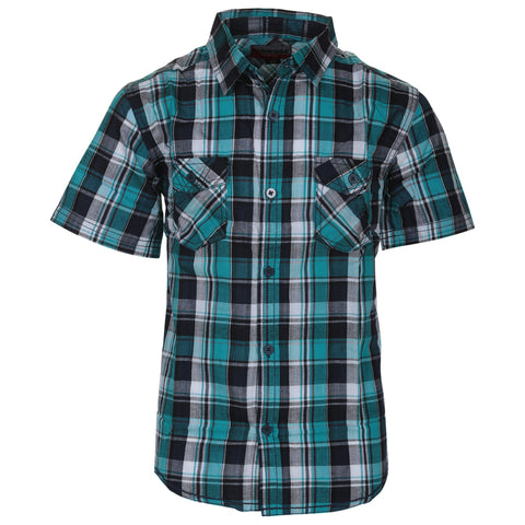 BURNSIDE BOY'S SHORT SLEEVE BUTTON UP SHIRT AQUA PLAID