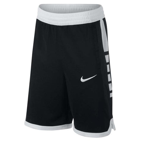 NIKE BOY'S DRY ELITE STRIPE SHORT BLACK/WHITE