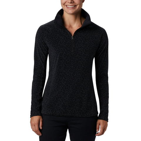 COLUMBIA WOMEN'S GLACIAL IV PRINT 1/2 ZIP EXTENDED SIZING BLACK SPARKLER PRINT