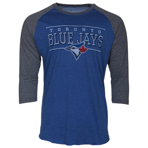 BULLETIN ATHLETIC MEN'S TORONTO BLUE  JAYS LONG SLEEVE MLB102 TOP ROYAL/GREY