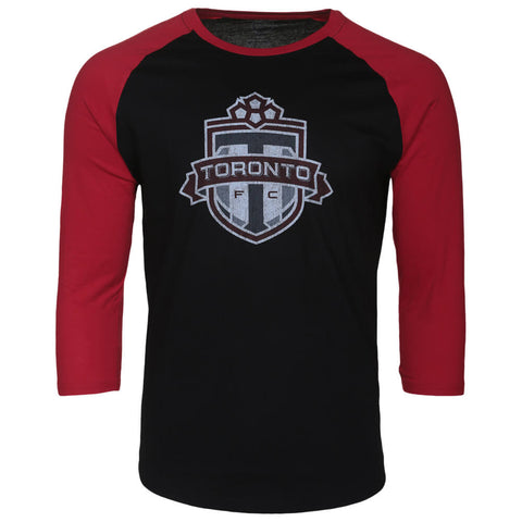 BULLETIN ATHLETIC MEN'S TFC LONG SLEEVE DISTRESSED LOGO TOP BLACK/RED
