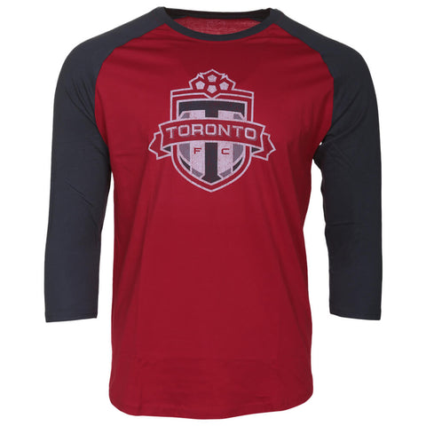 BULLETIN ATHLETIC MEN'S TFC LONG SLEEVE DISTRESSED LOGO TOP RED/CHARCOAL