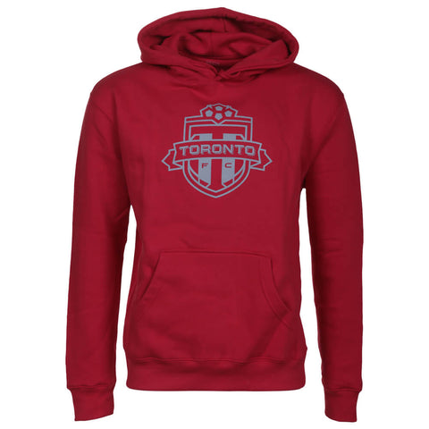 BULLETIN ATHLETIC MEN'S TFC PULLOVER ONE COLOUR GREY LOGO HOODY RED