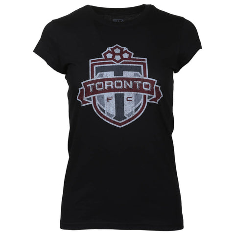 BULLETIN ATHLETIC WOMEN'S TFC DISTRESSED LOGO SHORT SLEEVE TOP BLACK