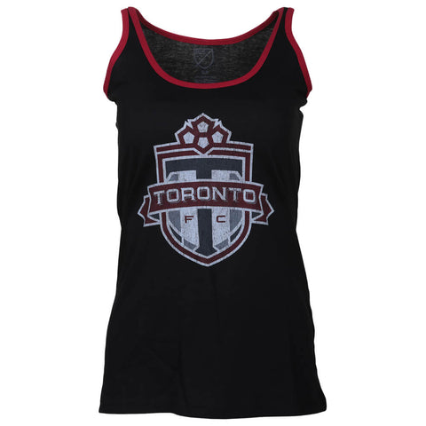 BULLETIN ATHLETIC WOMEN'S TFC DISTRESSED LOGO TANK BLACK/RED