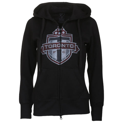 BULLETIN ATHLETIC WOMEN'S TFC DISTRESSED LOGO FULL ZIP HOODY BLACK