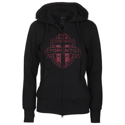 BULLETIN ATHLETIC WOMEN'S TFC ONE COLOUR RED LOGO FULL ZIP HOODY BLACK