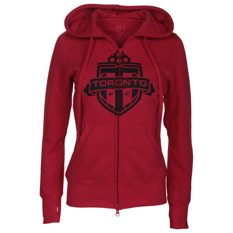 BULLETIN ATHLETIC WOMEN'S TFC ONE COLOUR BLACK LOGO FULL ZIP HOODY RED