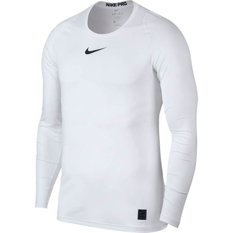 NIKE M NK PRO FITTED LONG SLEEVE TOP WHITE