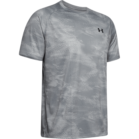 UNDER ARMOUR MEN'S TECH 2.0 PRINTED SHORT SLEEVE TOP MOD GREY/BLACK