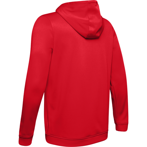 UNDER ARMOUR MEN'S ARMOUR FLEECE PULLOVER HOODY RED/BLACK BACK