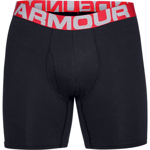 UNDER ARMOUR MEN'S CHARGED COTTON 6'' 3 PACK UNDERWEAR BLACK RED