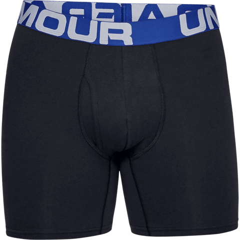 UNDER ARMOUR MEN'S CHARGED COTTON 6'' 3 PACK UNDERWEAR BLACK BLUE