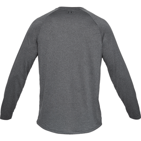 UNDER ARMOUR MEN'S TECH 2.0 LONG SLEEVE TOP CHARCOAL HEATHER BLACK