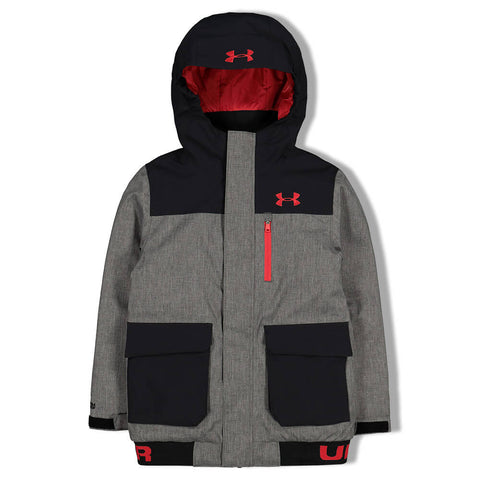UNDER ARMOUR BOYS KNEE DEEP JACKET BLACK/WIRE HEATHER/RED