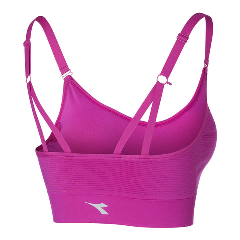 DIADORA WOMEN'S 2 IN 1 SEAMLESS STRAPPY BRA FUSHSIA