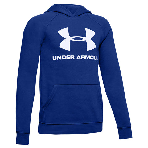 UNDER ARMOUR BOY'S RIVAL LOGO HOODY ROYAL/WHITE