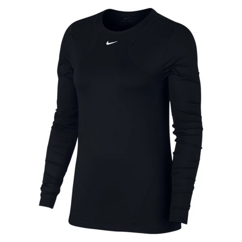 NIKE WOMEN'S PRO LONG SLEEVE ALL OVER MESH BLACK