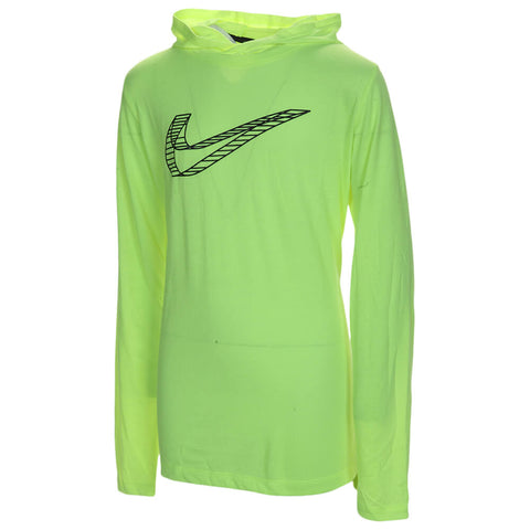 NIKE BOY'S BREATHE GRAPHICS HOODED LONG SLEEVE VOLT