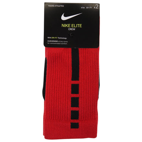 NIKE YOUTH ELITE CREW SOCKS MEDIUM 2PK RED/BLACK