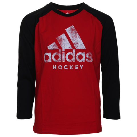 ADIDAS BOY'S HOCKEY RAGLAN LONG SLEEVE RED/BLACK/WHITE