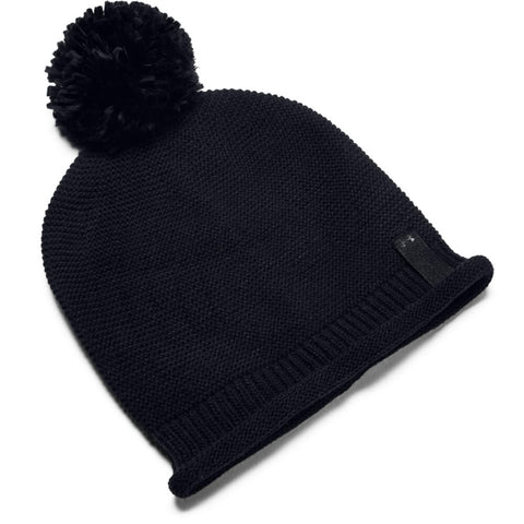 UNDER ARMOUR WOMEN'S ESSENTIALS POM BEANIE BLACK