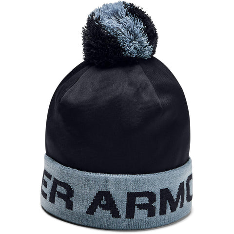 UNDER ARMOUR BOYS GAMETIME POM BEANIE BLACK/ASPHALT GREY