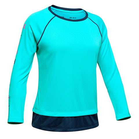 UNDER ARMOUR GIRL'S TECH LONG SLEEVE BREATHTAKING BLUE