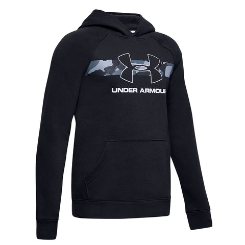UNDER ARMOUR BOY'S RIVAL HOODY BLACK/WHITE