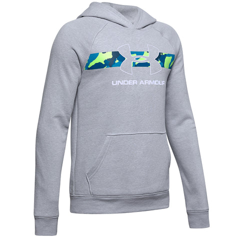 UNDER ARMOUR BOY'S RIVAL HOODY MOD GREY LIGHT HEATHER/WHITE