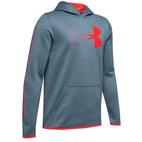 UNDER ARMOUR BOY'S ARMOUR FLEECE BRANDED HOODY ASH GREY/BETA RED
