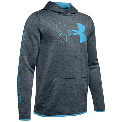UNDER ARMOUR BOY'S ARMOUR FLEECE BRANDED HOODY WIRE / MOBILE BLUE