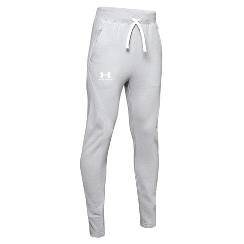 UNDER ARMOUR BOY'S RIVAL SOLID JOGGER MOD GREY LIGHT HEATHER/ WHITE