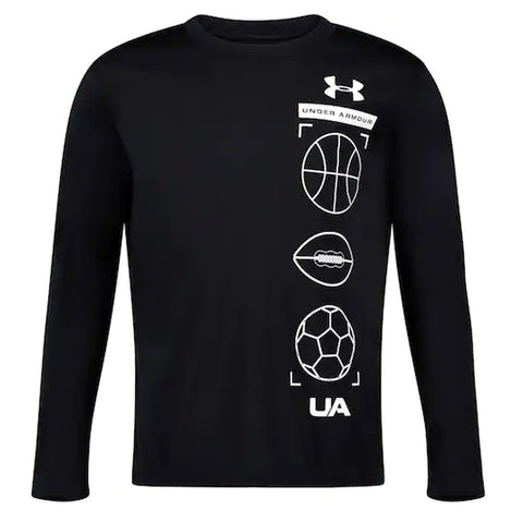 UNDER ARMOUR 4-7 BOY'S STACKED LONG SLEEVE BLACK