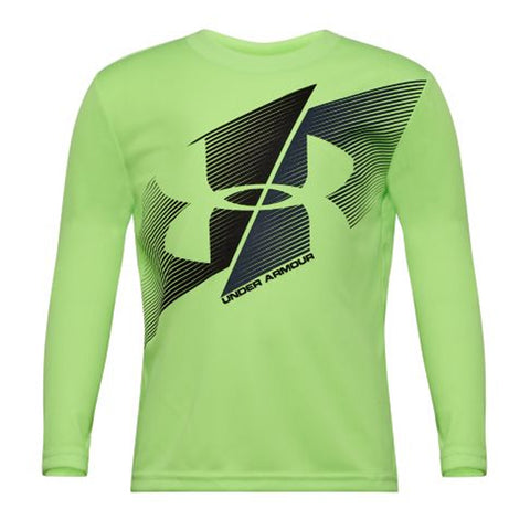 UNDER ARMOUR 4-7 BOY'S SLASHED LOGO LONG SLEEVE LIMELIGHT