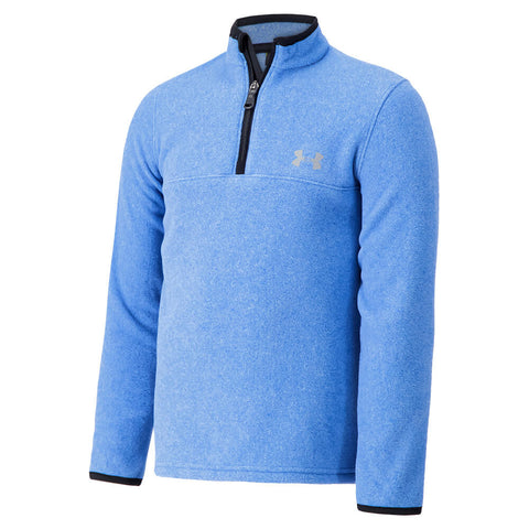UNDER ARMOUR BOY'S 4-7 HEATHERED LOGO 1/4 ZIP POWDERED BLUE/ BLACK