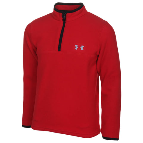 UNDER ARMOUR 4-7 BOY'S SOLID LOGO 1/4 ZIP RED/ BLACK