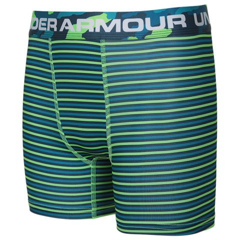 UNDER ARMOUR BOY'S 2 PACK BANDIT BOXER SET LIME LIGHT/TEAL/TEAL RUSH