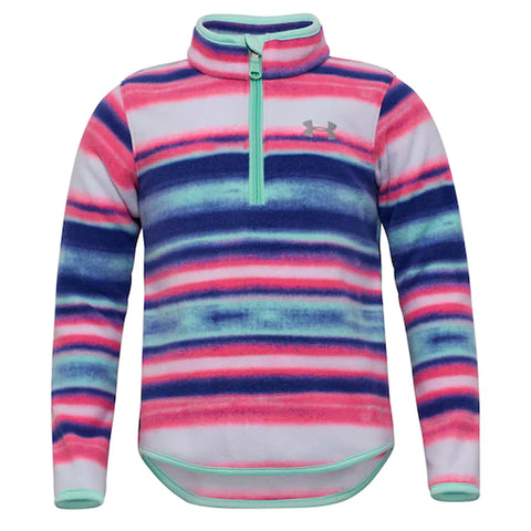 UNDER ARMOUR 4-7 GIRL'S HUE SATURATION 1/4 ZIP HUE/ CRYSTAL