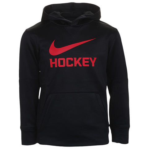 NIKE BOY'S THERMA PULLOVER HOODY BLACK