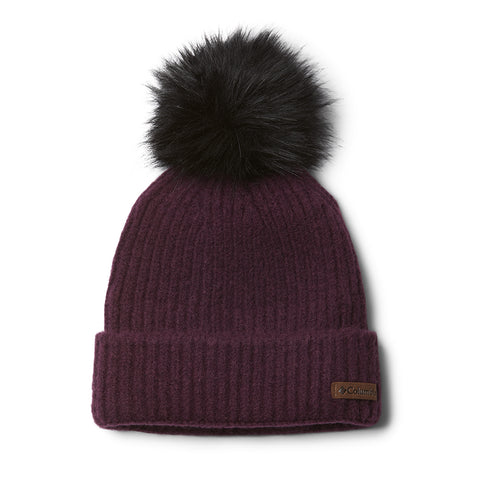 COLUMBIA WOMEN'S WINTER BLUR POM BEANIE BLACK CHERRY